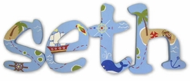 """pirate jester 8"""" wooden hanging letters"""