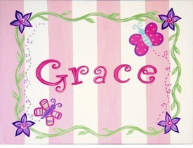 Pretty in pink personalized wall art