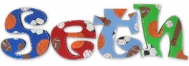 """primary colors sports theme 8"""" wooden hanging letters"""