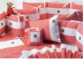 red check embroidered vignettes crib bedding by blauen