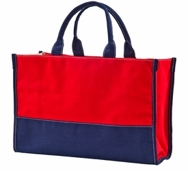 red/navy vivera tote