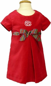 red velveteen a line pleated dress with plaid bow