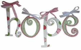 """retro dots and swirls 8"""" wooden hanging letters"""