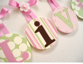 round wall letters  hand painted - pink brown green