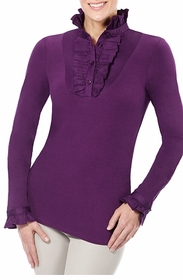 ruffle plum long sleeved shirt