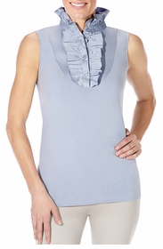 ruffle slate sleeveless shirt