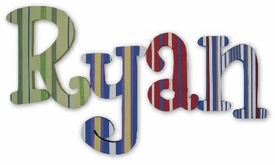 """ryan's stripes whimsical 8"""" hanging wooden letters"""
