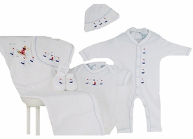 sailing away premium embroidered layette set by gordonsbury
