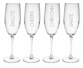 salute! champagne flutes (set of 4 glass)