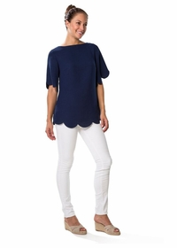 scalloping navy top