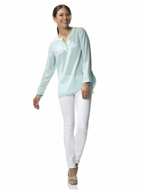 sea blue buttoned up blouse