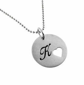 silver disc with heart cut out necklace