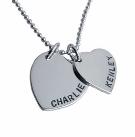 silver double heart charm necklace