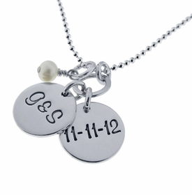 silver initial charms dangle necklace