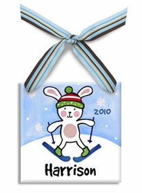 snow bunny christmas ornament (boy)