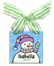 snowman christmas ornament (girl)