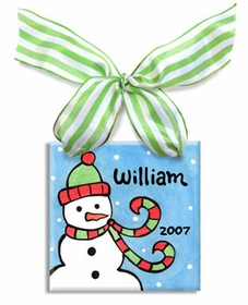 snowman personalized christmas ornament (boy)