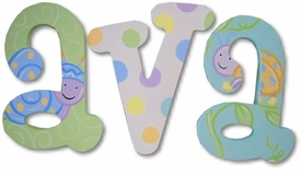 """snuggly bugs and dots 8"""" wooden hanging letters"""