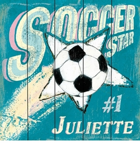 soccer star girl vintage sign