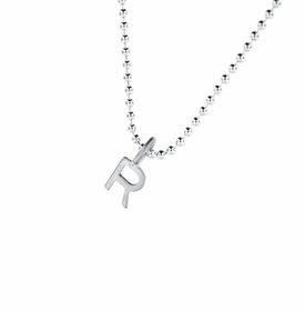 sterling silver 5mm letter charm necklace