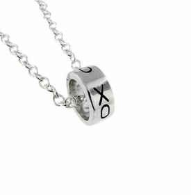 sterling silver loop charm necklace mini ring necklace