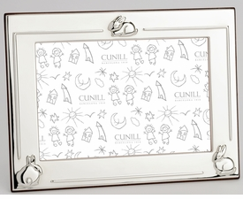 sterling silver three bunny personalized silver picture frame - 4x6