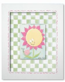 sunny flower wall art - green check - SOLD OUT