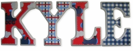 """trains and patterns 8"""" wooden hanging letters"""