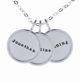 trio of rimmed name charm necklace