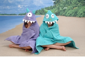 turquoise monster hooded towel