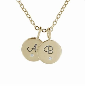 two 14k gold fancy initial charm necklace