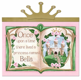 upon a time storybook princess pink-c personalized wall hanging