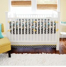 urban zoo in gray baby crib bedding set