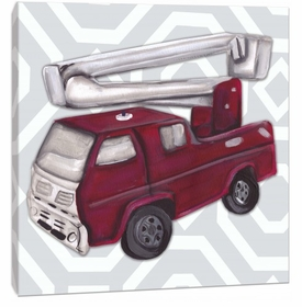vintage fire truck toy wall art