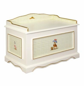 vintage toy chest (enchanted forest  green gingham & gilding)