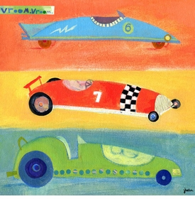 vroom vroom race cars - wall art by jenny kostecki