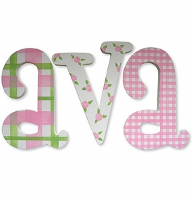 """whimsical ava patterns 8"""" hand painted wooden letters"""