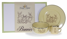 yellow bunny dish keepsake set and box (plate, mug, & bowl)