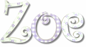 """zoe curlz style 8"""" wooden hanging letters"""