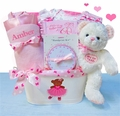 Beary Ballerina Personalized Deluxe Baby Girl Gift Basket