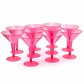 Neon Pink Plastic Martini Glasses - 10