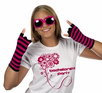 Striped Fingerless Gloves - Black and Pink - Clearance!