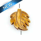 Antique bone carved leaf shape bead 21x29x4mm