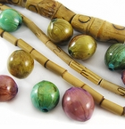 Bamboo Tube & Banana Bark Inlay Wood Beads