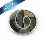 Blacklip 30mm round pendant w/ metal frame & coco back