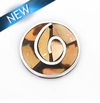 Brownip 30mm round pendant w/ metal frame & coco back