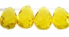 Citrine Glass Faceted Briolette Beads 12x18mm