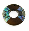Donut Robles Wood with Paua-inlay Pendant 35mm