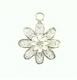 Flower charm silver finish 20X30mm