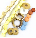Heart, Leaf, Ring & Donut Bone Beads
